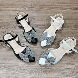 [ HỖ TRỢ PHÍ VẬN CHUYỂN] Giày sandal da đế bệt nơ caro - NCRT673635