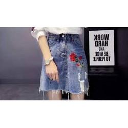 Chân váy jean thêu, đính đá, cườm, lưng cao chất jean đẹp có bigsize eo 60-84cm