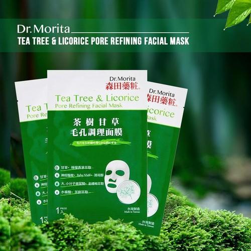 Hộp 8 Mặt Nạ Làm Dịu, Phục Hồi Da Mụn Tràm Trà & Cam Thảo Dr. Morita Tea  Tree & Licorice Pore Refining Facial Mask 30g x 8 - 8maskDr.Morita-Trà