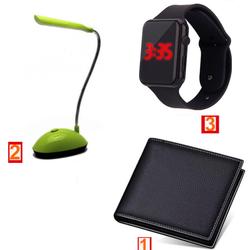 Combo 3 Ví nam da mềm + Đèn học đọc sách + Đồng hồ Led táo Seri 6