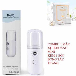 Combo 1 Máy Xịt Khoáng Mini Kèm 1 Gói Bông Tẩy Trang - combo2 thumbnail