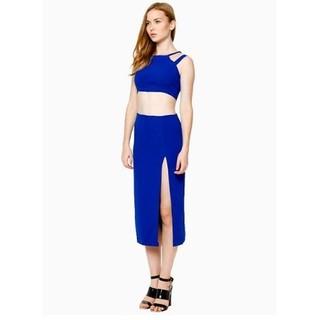 Set áo crop top phối váy xẻ tà màu xanh - 104934 thumbnail
