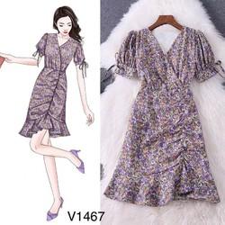 Váy Hoa Nhí Tím V1467   Min Shop Dvc   Kèm Ảnh Thật Trải Sàn Do Shop Tự Chụp