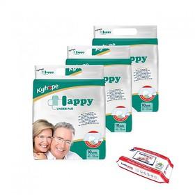 Combo 3 Tấm Lót Happy Người Lớn 10 Miếng x 3 gói - LOT HAPPY