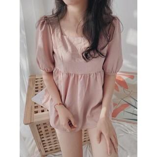 Set quần áo thời trang, áo cổ vuông tay chun, quần short đũi mặc hè Qa05 - Qa05 thumbnail
