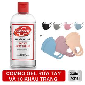 Combo Gel Rửa Tay Khô Lifebuoy và 10 khẩu trang vải 3D chống bụi cao cấp - Gel Rửa tay Lifebouy 235ml và 10 KHẨU TRANG