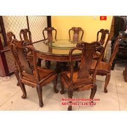 Bộ bàn ăn cẩm lai xịn 8 ghế bàn tròn
