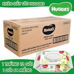 Nguyên thùng khăn ướt huggies 12 gói không mùi 64 tờ