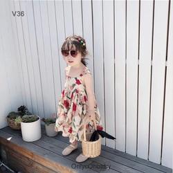 Váy bé gái 2 dây hoa lan