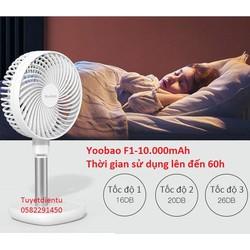 Quạt tích điện Yoobao F1 10000mAh, quạt để bàn sử dụng liên tục 12 giờ đến 60 giờ - YBĐB F1-10000mAh