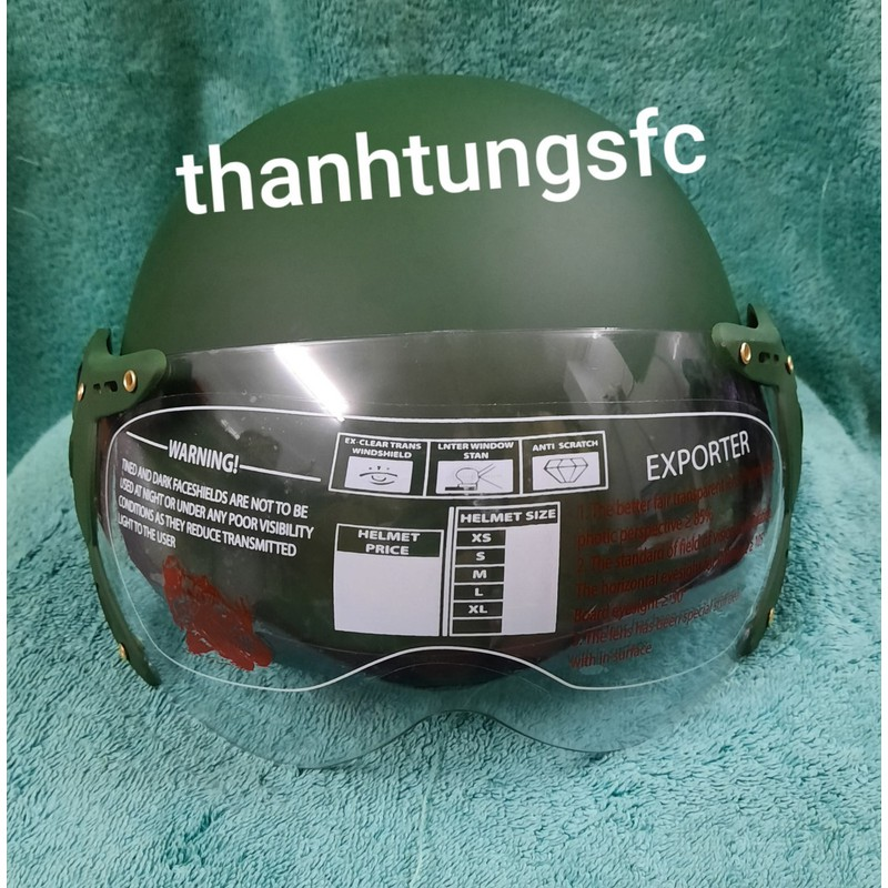 nón bảo hiểm thời trang 1/2 đầu màu trơn kính chắn gió cao cấp ,lót ép siêu chắc chắn an toàn sử dung – nón bảo hiểm thời tgrang cao cấp có kính