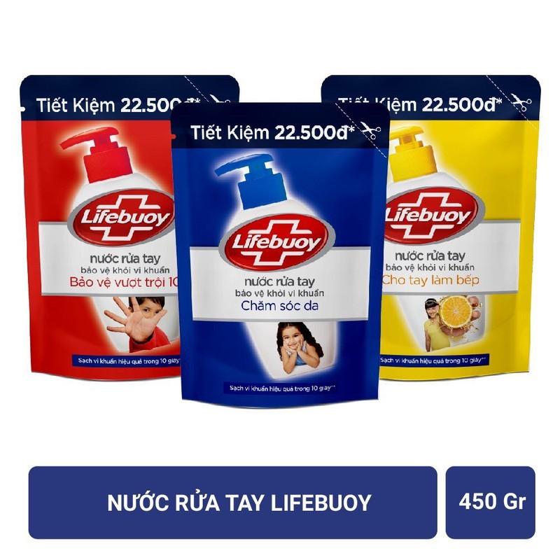 [COMBO 2 BỊCH] Nước Rửa Tay Lifebuoy 450G Bịch ngăn ngừa vi khuẩn bảo vệ tối ưu - combo 2 bịch nc rửa tay 450g 1