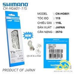 Xích sên xe đạp Shimano 105 CN-HG601 11 speed - Quick Link - Fullbox Hàng Chính Hãng