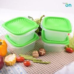 Set 4 hộp đựng thực phẩm nắp vuông Hàn Quốc