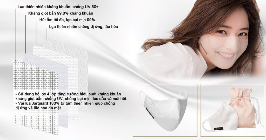 Khẩu trang sử dụng vải lụa kháng khuẩn chống dị ứng và lão hóa da