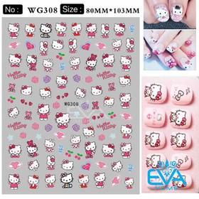 Miếng Dán Móng Tay 3D Nail Sticker Hoạt Hình Mèo Hồng Kity WG308 - 0010002735