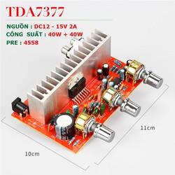 Mạch khuyếch đại công suất BTL 2.0 TDA 7377, Nguồn 12V - 15v, Công suất 40W + 40W Dùng độ loa kéo, karaoke .v.v...