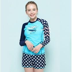 Bộ đồ bơi tay dài chống nắng chấm bi cho bé gái tuổi teen