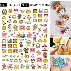 Miếng Dán Móng Tay 3D Nail Sticker Tráng Trí Hoạ Tiết Hoạt Hình Mèo GarField WG307 - 0010002734