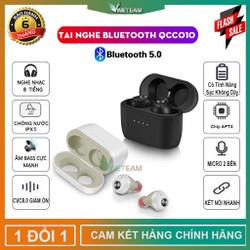 Tai nghe Bluetooth 5.0 cao cấp TWS QCC010,Chip Qualcomm APTX,2 Tai nghe kết nối độc lập,Chống nước IPX5,CVC 8.0,Âm Bas Cực Mạnh,Sạc Không Dây