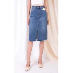Chân váy Jean chữ A dài xẻ trước hàng Xuất dư