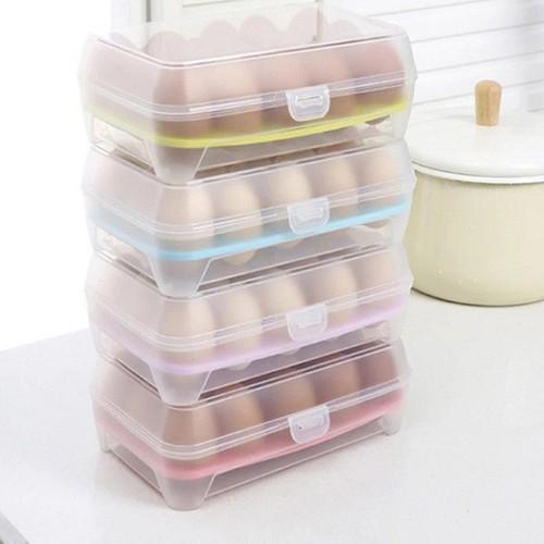 Hộp Nhựa Đựng Trứng Trong Suốt 15 Ô Có Nắp Đậy - HDT