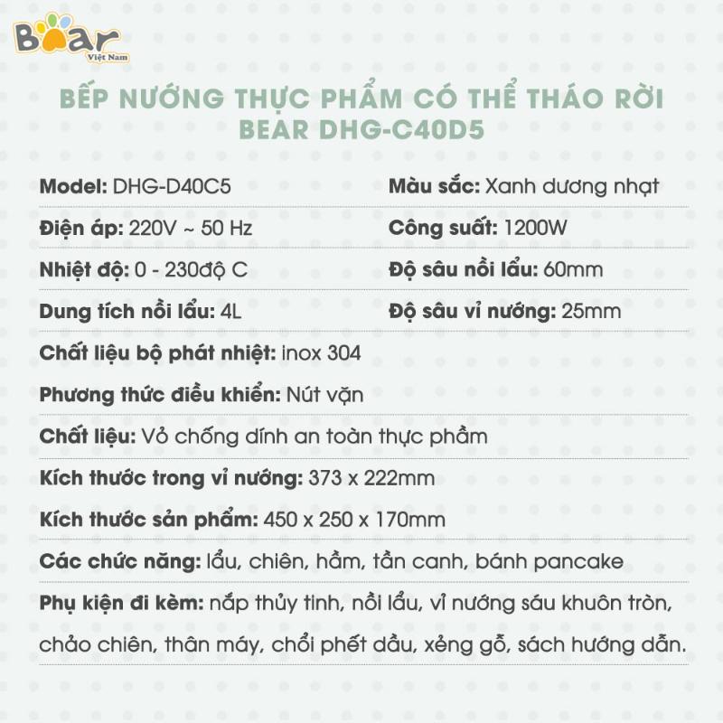 Nồi Lẩu Nướng Đa Năng 3 Trong 1 Bear DHG-C40D5