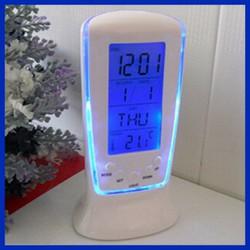 Đồng hồ báo thức điện tử để bàn có đèn LED hiển thị nhiệt độ và lịch