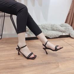 Sandal da mịn dây tết sợi to gót nhọn - 7P