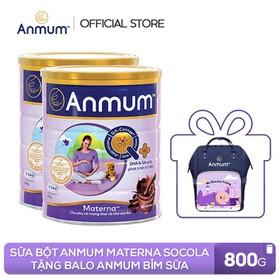 [Tặng Balo Anmum Bỉm sữa tiện lợi cho Mẹ] Combo 2 Lon Sữa bột Anmum Materna hương Sô - cô - la 800g cho phụ nữ mang thai và cho con bú - TUANM0006CB