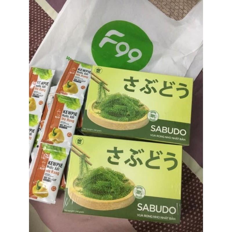 Hộp 12 gói rong nho Sabudo Nhật Bản chính hãng – Tặng 12 sốt mè rang – Mã 001