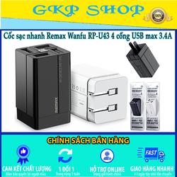 Cốc sạc nhanh đa năng Remax Wanfu RP-U43/ U73 4 cổng USB max 3.4A