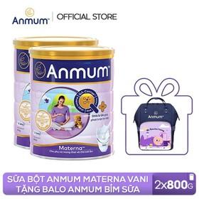 [Tặng Balo Anmum Bỉm sữa tiện lợi cho Mẹ] Combo 2 Lon Sữa bột Anmum Materna hương Vani 800g cho phụ nữ mang thai và cho con bú - TUANM0005CB