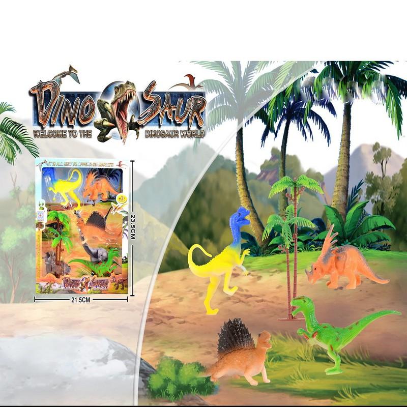 Đồ chơi mô hình Khủng long thời tiền sử (nhựa PVC) giao mẫu ngẫu nhiên, set 4 khủng long,1 cây dừa – Đồ chơi mô hình Khủng long thời tiền sử