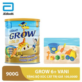 Bộ 1 lon sữa Grow 6+ Vani 900g tặng bộ xúc cát trị giá 100,000đ - GRO030180