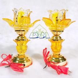 Cặp đèn thờ thủy tinh bóng LED cao 20 cm - Đèn thờ Phật - Đèn thờ pha lê Dũng Hà cremics