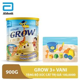 Bộ 1 lon sữa Grow 3+ Vani 900g tặng bộ xúc cát trị giá 100,000đ - GRO030179