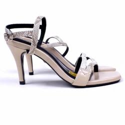 [hỗ trợ phí ship] giày sandal 7cm gót nhọn da rắn siêu sang, bao êm