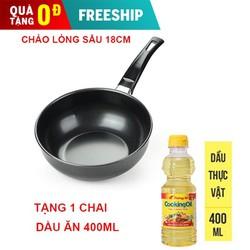 [ TRỢ SHIP 15K ] Chảo chống dính sâu lòng 18cm dùng mọi loại bếp siêu bền tặng 1 chai dầu ăn 400ml