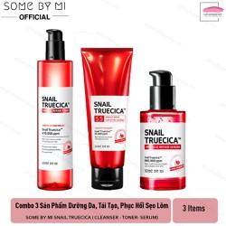 Combo 3 sản phẩm dưỡng da, tại tạo phục hồi sẹo lõm Some By Mi Snail Truecica - Cleanser, Toner, Serum