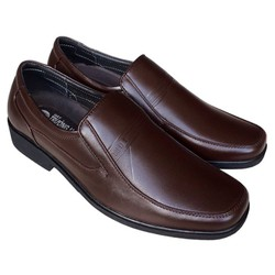 Giày tây nam Trường Hải không dây da bò thật màu nâu may chắc chắn GT0416