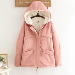 Áo khoác phao dày lót lông siêu ấm mùa đông