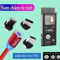 [FREE SHIP] CÁP SẠC TỪ HÍT NAM CHÂM DÂY DÙ 3IN1 -Samsung - Iphone - Type-C