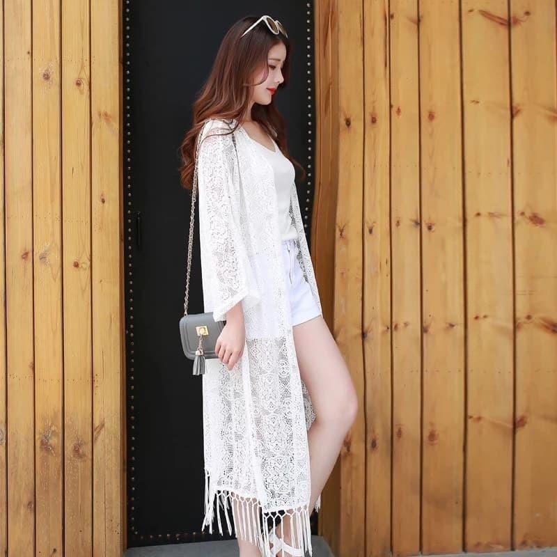 Áo khoác Kimono đi biển dáng dài Queenal110 – Queenal110
