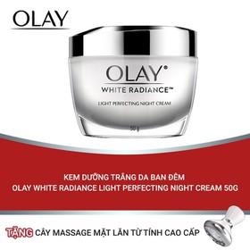 (Tặng thanh massage đẩy tinh chất từ tính) Kem dưỡng trắng da ban đêm Olay White Radiance Light Perfecting Night Cream 50g - TUOL0046CB