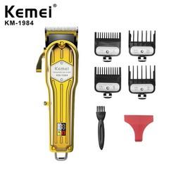 Tông đơ cắt tóc vỏ thép nguyên khối,màn hình hiển thị LCD Kemei 1984 vàng + 1983 Trắng,chuyên dùng fade tóc và cắt lược