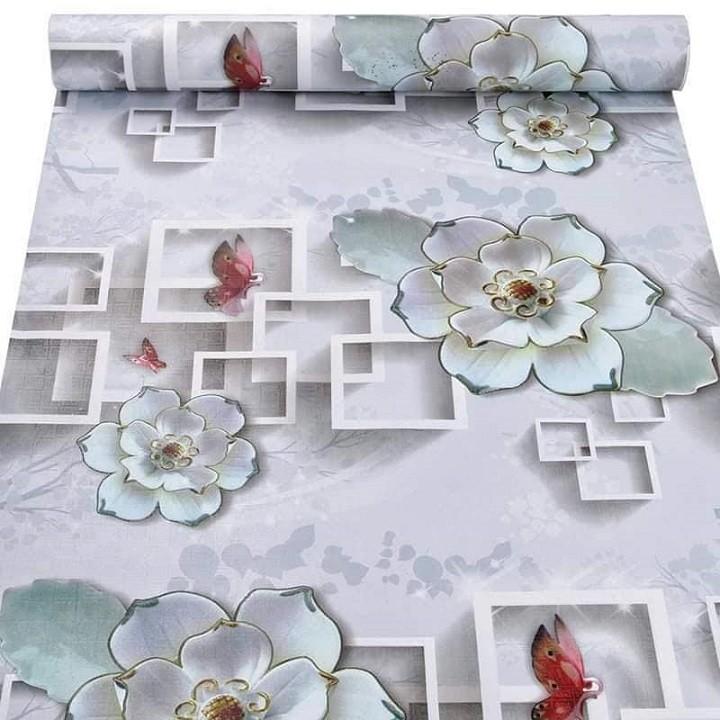 Giấy dán tường cuộn 10m Hoa sen đá 3D - Decal dán tường 10m mẫu Hoa 3D