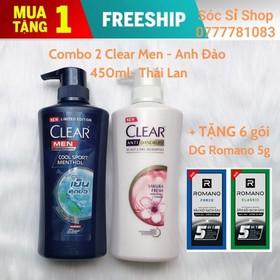 [ Hỗ trợ phí ship ] Combo 2 chai dầu gội sạch gàu Clear Men và Anh Đào 450ml + Tặng 6 gói DG Romano 5g - Combo 2 Clear + Tặng 6 gói DG Romano 5g