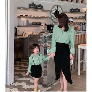 Mẹ & Bé - Set áo sơ mi + Chân Váy Thắt Nơ Mẹ và Bé TP02 - TP02 - XANH thumbnail
