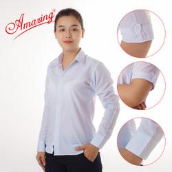 Áo trắng nữ, sơ mi nữ Amazing, đồng phục học sinh, somi KT silk trắng, thiết kế tay cách điệu nhẹ nhàng